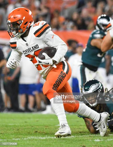 Running back Duke Johnson Jr #29 of the Cleveland Browns carries the ball in the second quarter of a preseason game against the Philadelphia Eagles...