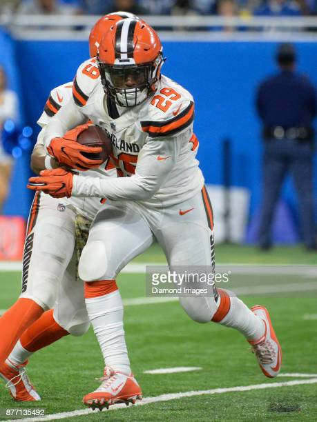 Running back Duke Johnson Jr #29 of the Cleveland Browns carries the ball in the third quarter of a game on November 12 2017 against the Detroit...