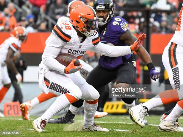 Running back Duke Johnson Jr #29 of the Cleveland Browns carries the ball in the first quarter of a game on December 17 2017 against the Baltimore...