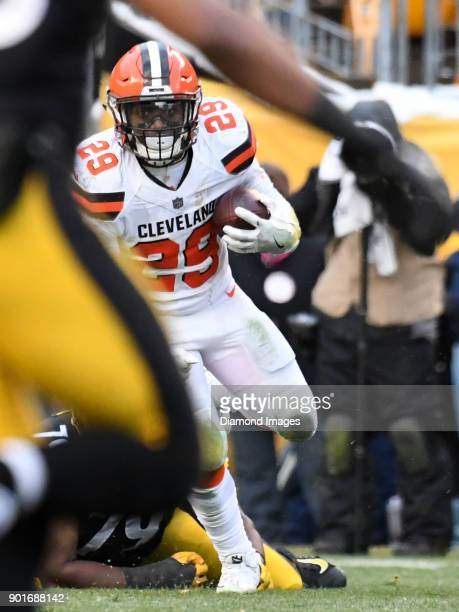 Running back Duke Johnson Jr #29 of the Cleveland Browns carries the ball downfield in the fourth quarter of a game on December 31 2017 against the...
