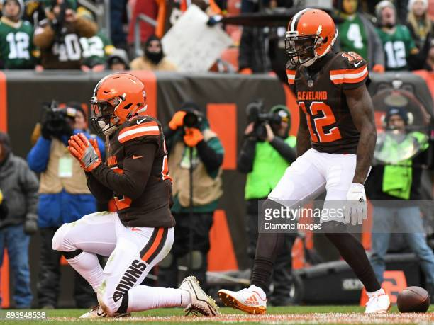 Running back Duke Johnson Jr #29 of the Cleveland Browns celebrates after scoring a receiving touchdown in the second quarter of a game on December...