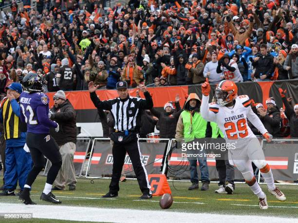 Running back Duke Johnson Jr #29 of the Cleveland Browns celebrates after scoring on a rushing touchdown in the second quarter of a game on December...