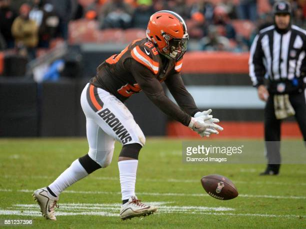 Running back Duke Johnson Jr #29 of the Cleveland Browns drops a pass in the third quarter of a game on November 19 2017 against the Jacksonville...