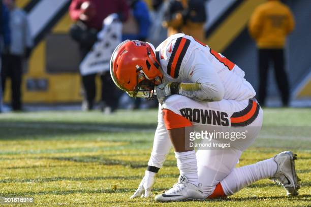 Running back Duke Johnson Jr #29 of the Cleveland Browns kneels in the endzone to celebrate scoring a rushing touchdown in the second quarter of a...