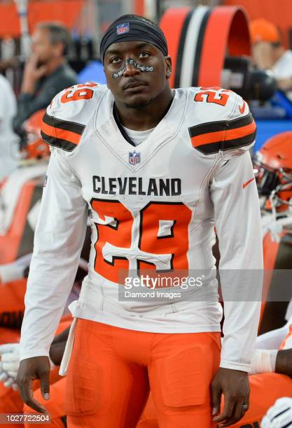 Running back Duke Johnson Jr #29 of the Cleveland Browns on the sideline prior to a preseason game against the Philadelphia Eagles on August 23 2018...
