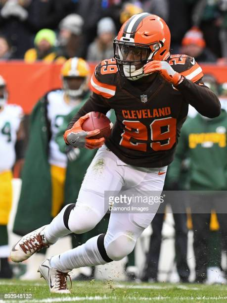 Running back Duke Johnson Jr #29 of the Cleveland Browns returns a punt in the second quarter of a game on December 10 2017 against the Green Bay...