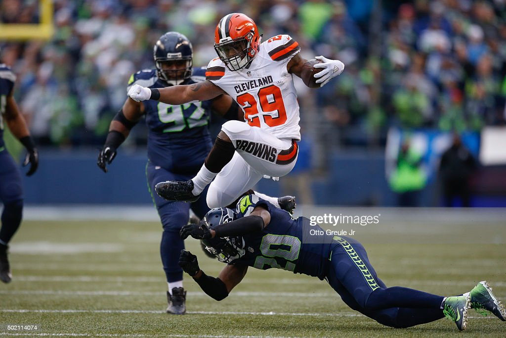 Running back Duke Johnson Jr. #29 of the Cleveland Browns rushes against Jeremy Lane #20 of the Seattle Seahawks at CenturyLink Field on December 20, 2015 in Seattle, Washington.