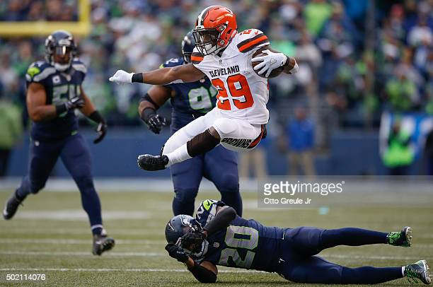 Running back Duke Johnson Jr #29 of the Cleveland Browns rushes against the Seattle Seahawks at CenturyLink Field on December 20 2015 in Seattle...