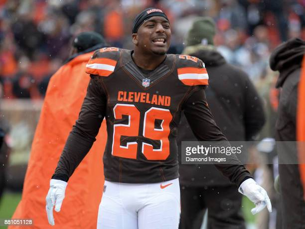 Running back Duke Johnson Jr #29 of the Cleveland Browns walks along the sideline prior to a game on November 19 2017 against the Jacksonville...