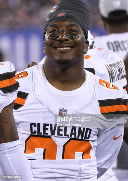 Running back Duke Johnson Jr #29 of the Cleveland Browns watches the action from the sideline in the fourth quarter of a preseason game against the...