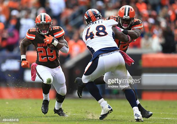 Running back Duke Johnson of the Cleveland Browns against the Denver Broncos at Cleveland Browns Stadium on October 18 2015 in Cleveland Ohio Broncos...