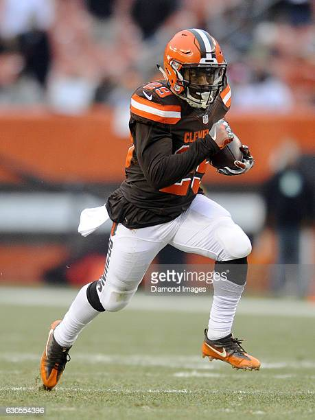 Running back Duke Johnson of the Cleveland Browns caries the ball downfield during a game against the San Diego Chargers on December 24 2016 at...