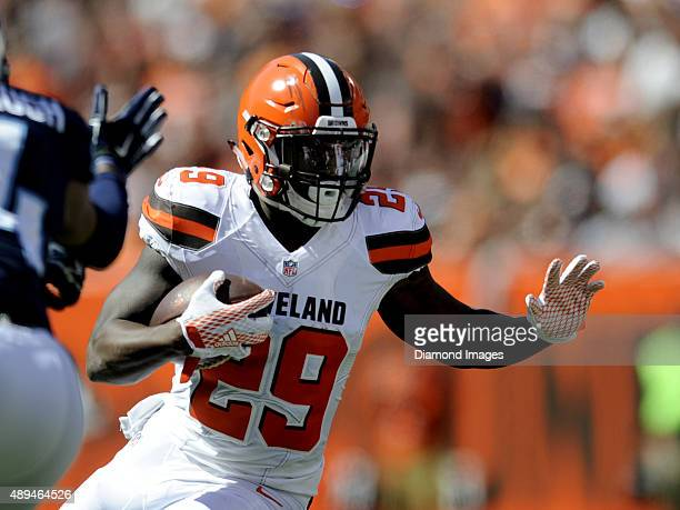 Running back Duke Johnson of the Cleveland Browns carries the ball during a game against the Tennessee Titans on September 20 2015 at FirstEnergy...