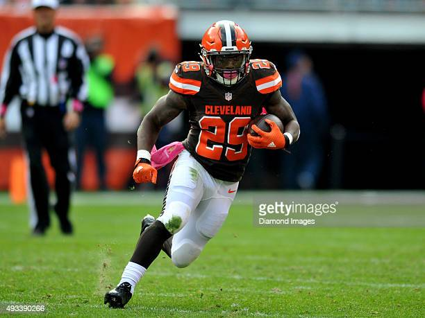 Running back Duke Johnson of the Cleveland Browns carries the ball during a game against the Denver Broncos on October 18 2015 at FirstEnergy Stadium...