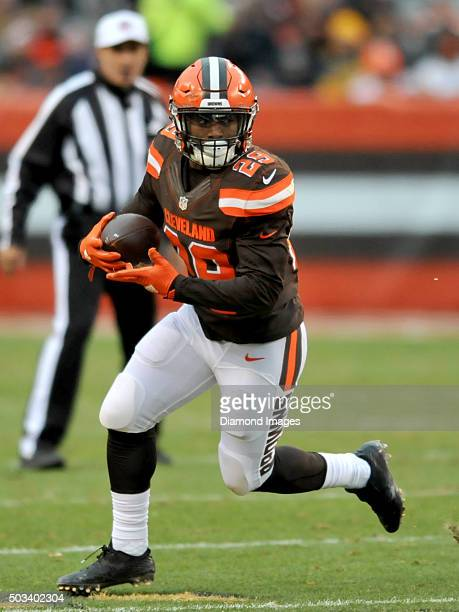 Running back Duke Johnson of the Cleveland Browns carries the ball during a game against the Pittsburgh Steelers on January 3 2016 at FirstEnergy...
