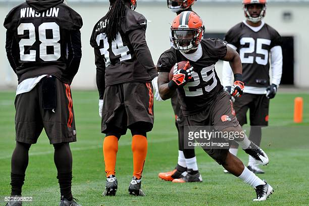 Running back Duke Johnson of the Cleveland Browns carries the ball during a voluntary mini camp on April 21 2016 at the Cleveland Browns training...