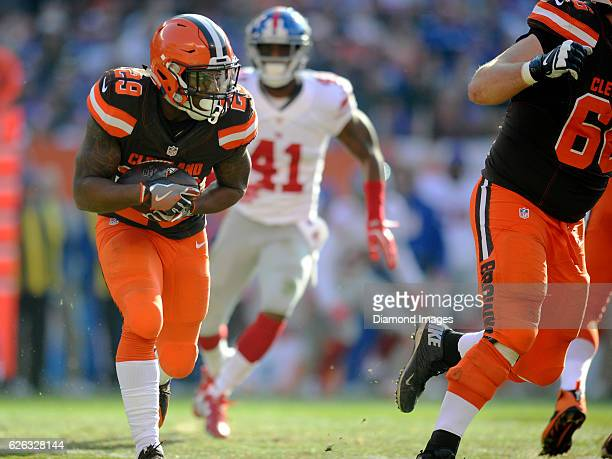 Running back Duke Johnson of the Cleveland Browns carries the ball during a game against the New York Giants on November 27 2016 at FirstEnergy...