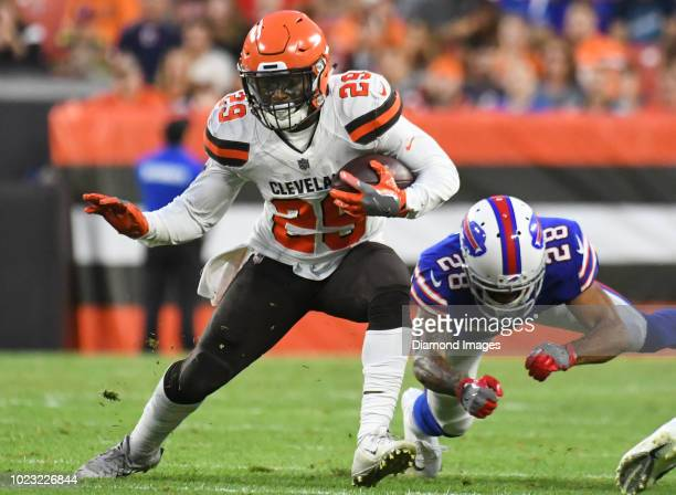 Running back Duke Johnson of the Cleveland Browns carries the ball in the second quarter of a preseason game against the Buffalo Bills at FirstEnergy...