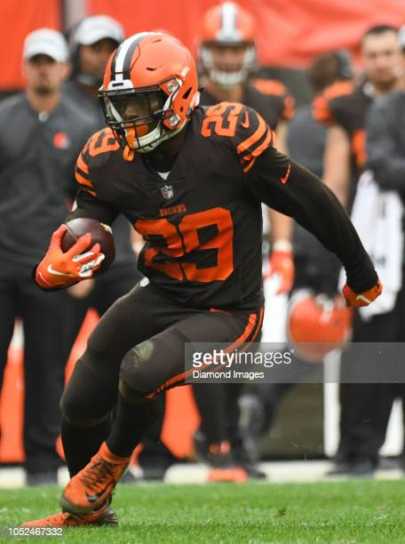 Running back Duke Johnson of the Cleveland Browns carries the ball in overtime of a game against the Baltimore Ravens on October 7 2018 at...
