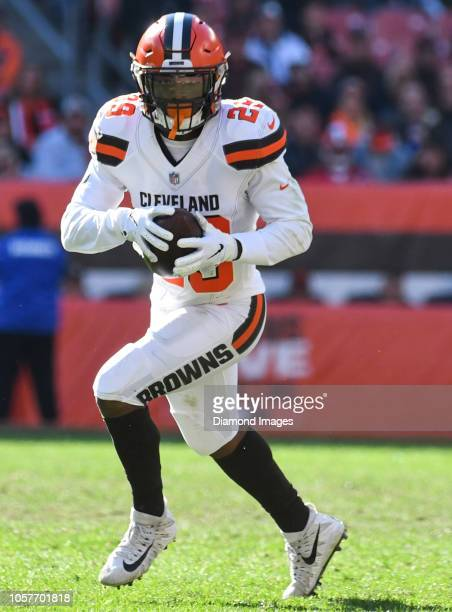 Running back Duke Johnson of the Cleveland Browns carries the ball in the fourth quarter of a game against the Los Angeles Chargers on October 14...