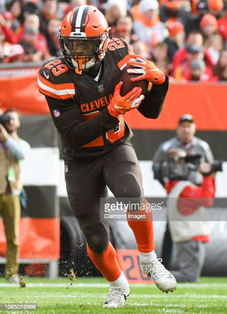 Running back Duke Johnson of the Cleveland Browns carries the ball in the fourth quarter of a game against the Kansas City Chiefs on November 4 2018...