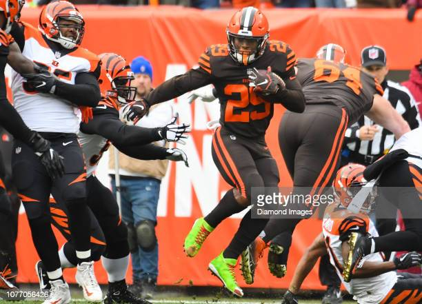 Running back Duke Johnson of the Cleveland Browns carries the ball in the first quarter of a game against the Cincinnati Bengals on December 23 2018...