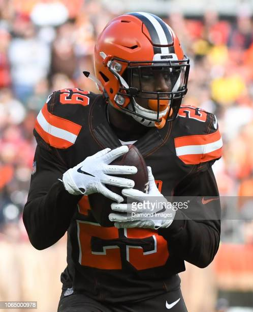 Running back Duke Johnson of the Cleveland Browns catches a pass in the second quarter of a game against the Kansas City Chiefs on November 4 2018 at...