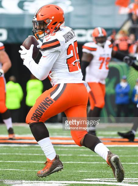 Running back Duke Johnson of the Cleveland Browns catches a pass in the first quarter of a game against the Cincinnati Bengals on November 25 2018 at...