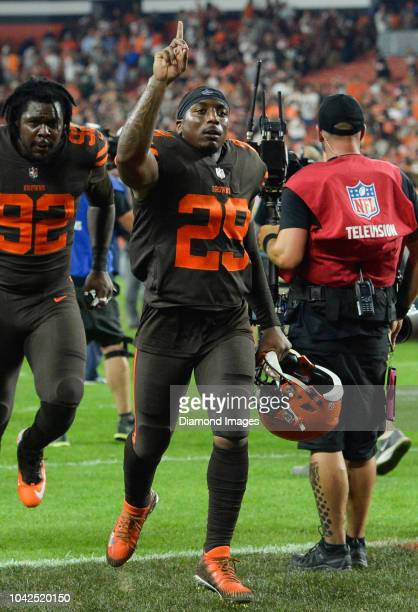 Running back Duke Johnson of the Cleveland Browns celebrates as he walks off the field after a game against the New York Jets on September 20 2018 at...