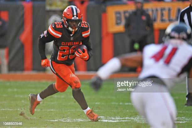 Running back Duke Johnson of the Cleveland Browns during the game against the Atlanta Falcons at FirstEnergy Stadium on November 11 2018 in Cleveland...