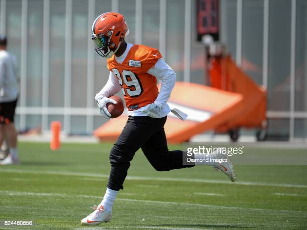 Running back Duke Johnson of the Cleveland Browns fields a punt during a training camp practice on July 28 2017 at the Cleveland Browns training...