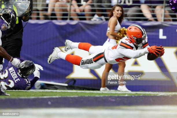 Running back Duke Johnson of the Cleveland Browns goes for a touchdown against the Baltimore Ravens in the four quarter at MT Bank Stadium on...