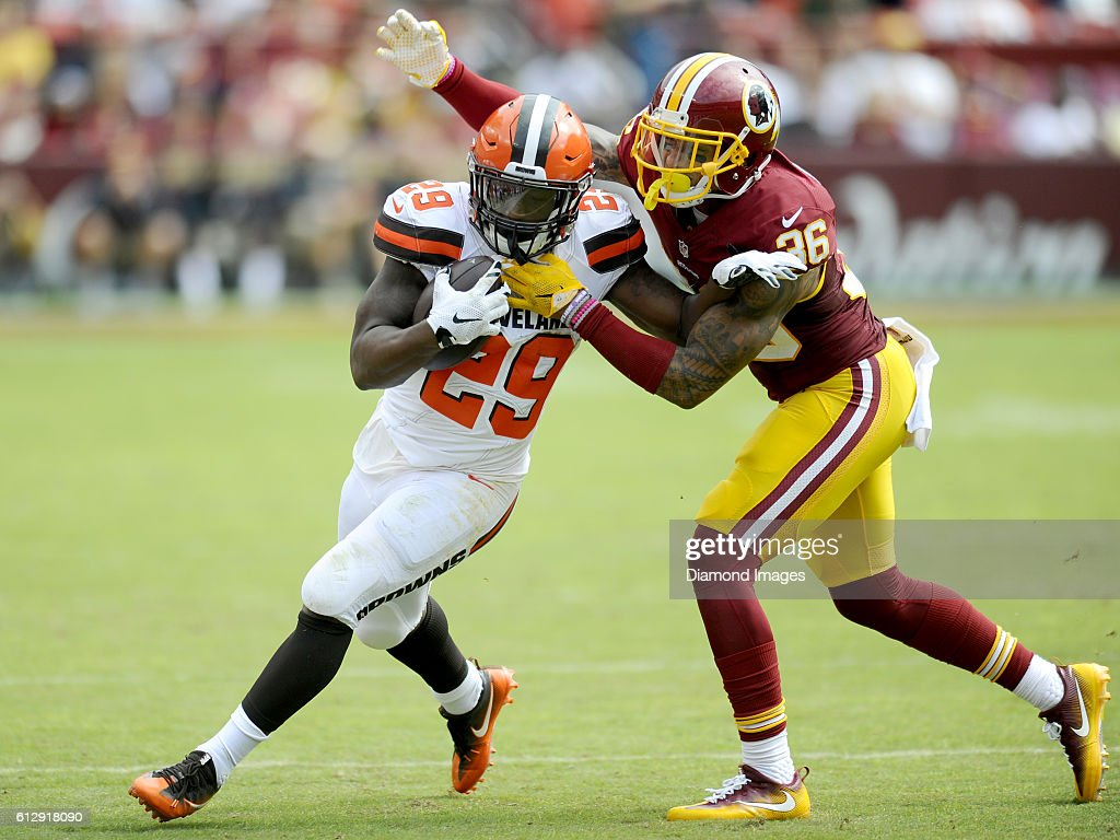 Running back Duke Johnson #29 of the Cleveland Browns is tackled by safety Su'a Cravens #36 of the Washington Redskins during a game on October 2, 2016 at FedEx Field in Landover, Maryland. Washington won 31-20.