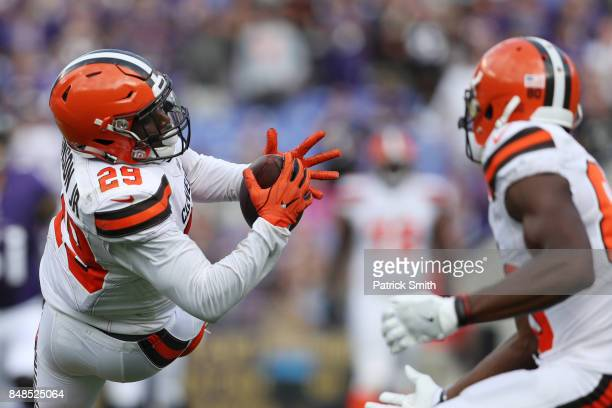 Running back Duke Johnson of the Cleveland Browns makes a catch against the Baltimore Ravens in the third quarter at MT Bank Stadium on September 17...
