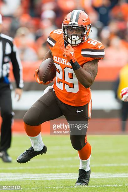 Running back Duke Johnson of the Cleveland Browns runs for a gain during the first half against the San Francisco 49ers at FirstEnergy Stadium on...
