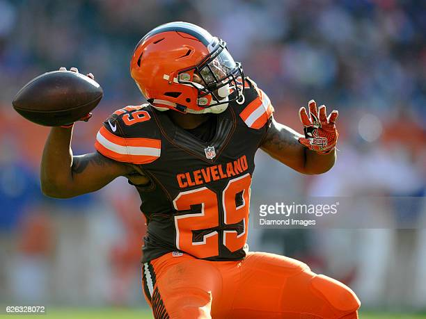 Running back Duke Johnson of the Cleveland Browns throws a pass during a game against the New York Giants on November 27 2016 at FirstEnergy Stadium...