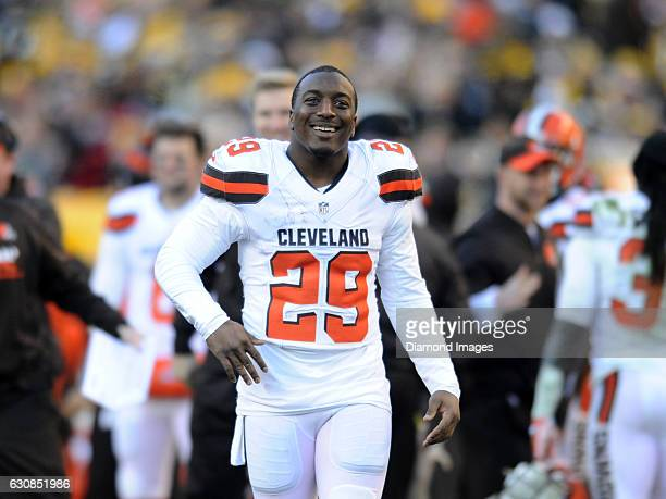 Running back Duke Johnson of the Cleveland Browns walks onto the field during a game against the Pittsburgh Steelers on January 1 2017 at Heinz Field...