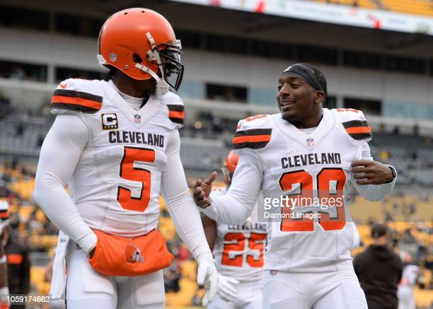 Running back Duke Johnson quarterback Tyrod Taylor of the Cleveland Browns walk off the field prior to a game against the Pittsburgh Steelers on...