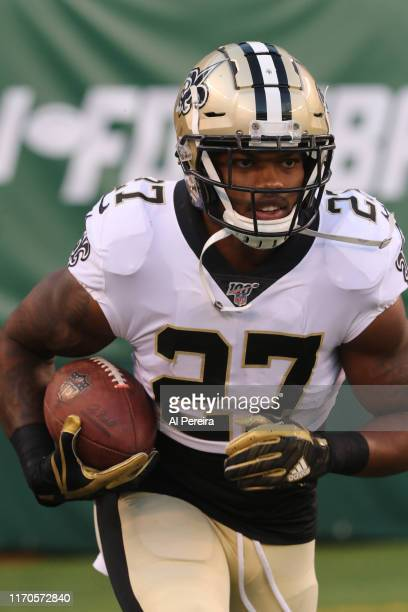 Running Back Dwayne Washington of the New Orleans Saints in action against the New York Jets at MetLife Stadium on August 24, 2019 in East...