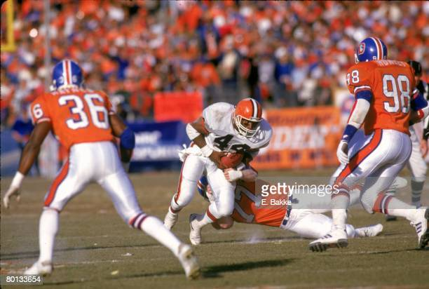 account of the afc championship denver broncos vs cleveland browns John elway's championship games 1986 afc - denver broncos 23, cleveland browns 20 (ot) elway started at quarterback he completed 22 of 38 passes for 244 yards, one touchdown and one interception.