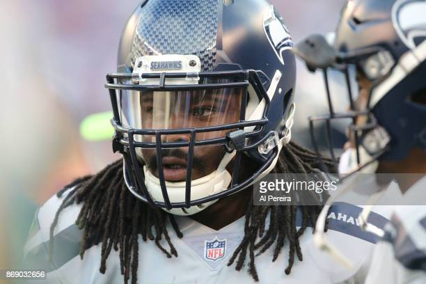 Running Back Eddie Lacy of the Seattle Seahawks in action against the New York Giants during their game at MetLife Stadium on October 22 2017 in East...