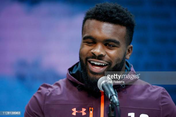 Running back Elijah Holyfield of Georgia speaks to the media during day one of interviews at the NFL Combine at Lucas Oil Stadium on February 28 2019...