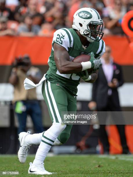 Running back Elijah McGuire of the New York Jets carries the ball in the third quarter of a game on October 8 2017 against the Cleveland Browns at...