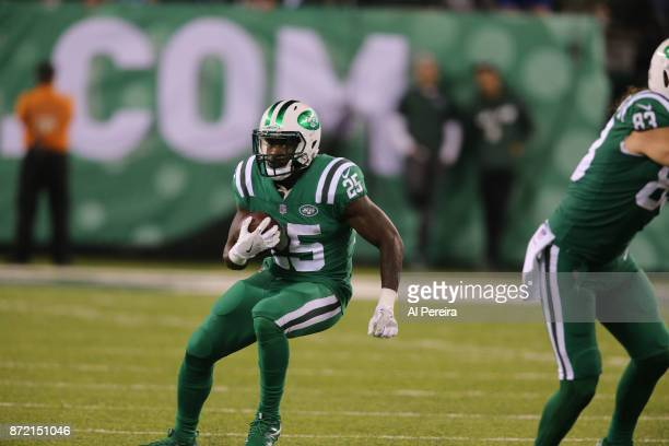 Running Back Elijah McGuire of the New York Jets has a long gain against the Buffalo Bills at MetLife Stadium on November 2 2017 in East Rutherford...