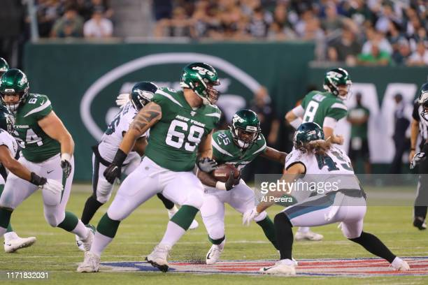 Running Back Elijah McGuire of the New York Jets in action against the Philadelphia Eagles at MetLife Stadium on August 29 2019 in East Rutherford...