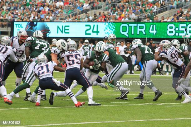 Running Back ELijah McGuire of the New York Jets in action against the New England Patriots during their game at MetLife Stadium on October 15 2017...