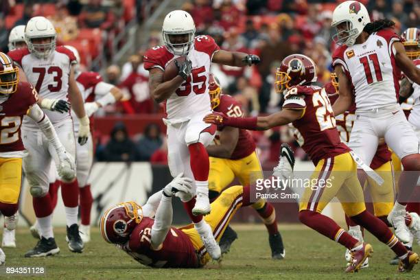 Running Back Elijhaa Penny of the Arizona Cardinals carries the ball in the fourth quarter against the Washington Redskins at FedEx Field on December...