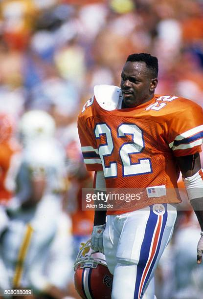 Running back Emmitt Smith of the Florida Gators walks on the field during a game against theVanderbilt Commodores at Ben Hill Griffin Stadium on...