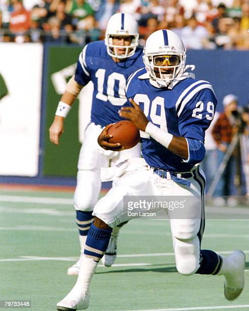 Running back Eric Dickerson of the Indianapolis Colts plays in his first game since being traded from the Los Angeles Rams a 1914 victory over the...