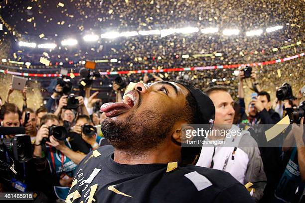 Running back Ezekiel Elliott of the Ohio State Buckeyes celebrates after defeating the Oregon Ducks 42 to 20 in the College Football Playoff National...